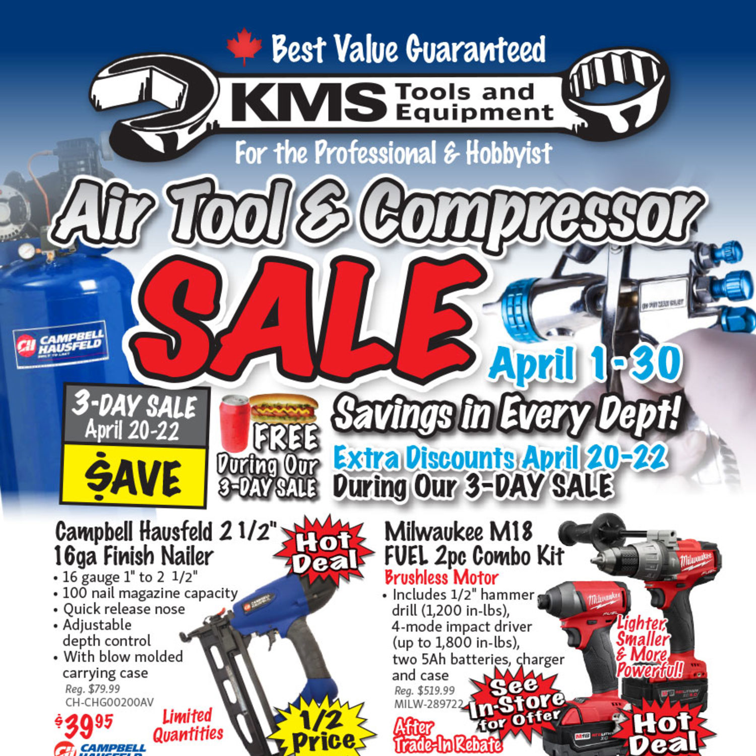 Kms Tools Weekly Flyer Air Tool Compressor Sale Apr 1 30 Need Plug Hook Up Diagram For 220 Ingersoll Rand 2475n75 Type