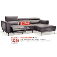 "Natuzzi Editions Milano 104"" Sectional Power Sofa In Steel Grey"