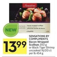 Sensations By Compliments Bacon-Wrapped Scallops Or Black Tiger Shrimp Uncooked