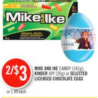 Mike and Ike Candy, Kinder Joy Or Licensed Chocolate Eggs