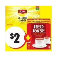 Red Rose Orange Pekoe Tea Bags, Lipton Yellow Label