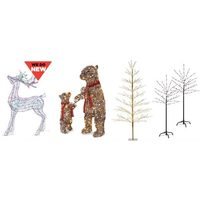Wide Selection of Pre-Lit Lawn Decor Including Trees, Animals, Gift Boxes and Snowmen