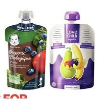 Gerber or Love Child Infant Food Pouches
