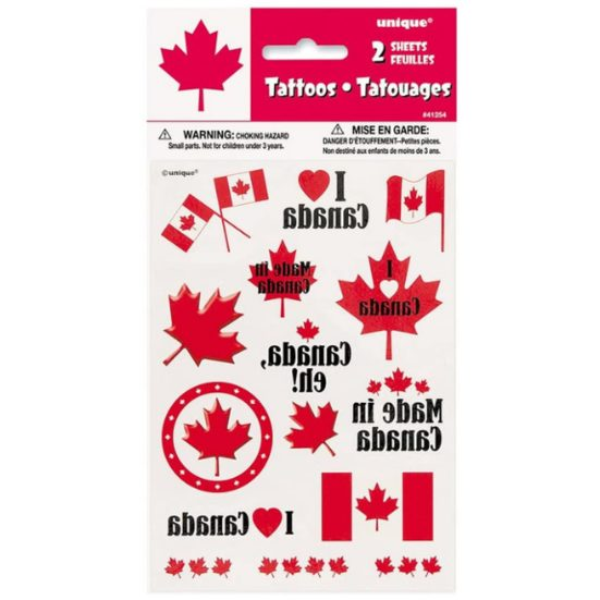 6. Best Patriotic Gift for Kids and Adults: Canada Day Tattoo Sheets