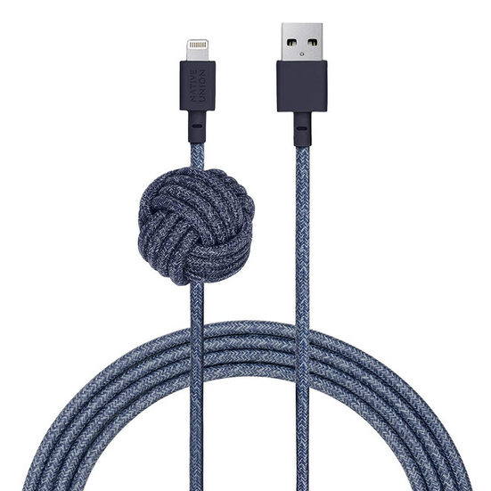 3. Best Long Cable: Native Union Night Cable USB-A to Lightning Charging Cable with Weighted Knot