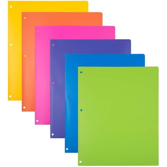 8. Best Folders Set: JAM PAPER Heavy Duty Plastic 3 Hole Punch Folders with Pockets - Assorted Fashion Colors - 6/Pack
