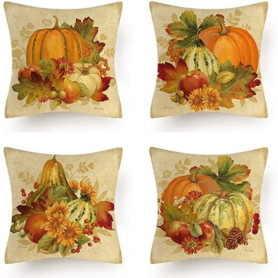 2. Runner Up: AMOR SPES Set of 4 Fall Decor Pillow Covers for Thanksgiving