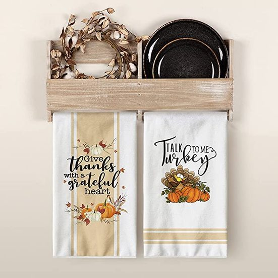 4. Best Decorative Kitchen Towels: Artoid Mode Pumpkins Thanksgiving Kitchen Towels and Dish Towels
