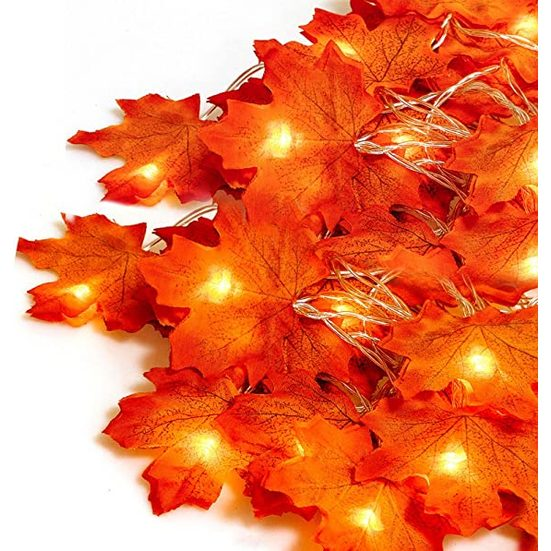 5. Best Decorative Lights: LOOUS 2 Pack Fall Maple Leaf Garland 40 LED Maple Leaves Fairy Lights