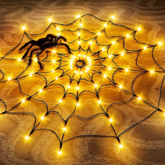 3. Best Light Up Decoration: Halloween Decorations Light Spider Web