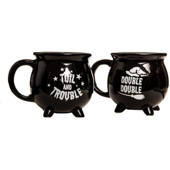 8. Best Halloween Tea or Coffee Mug: Double Double Toil and Trouble Cauldron Ceramic Coffee Mugs - 2 Pack