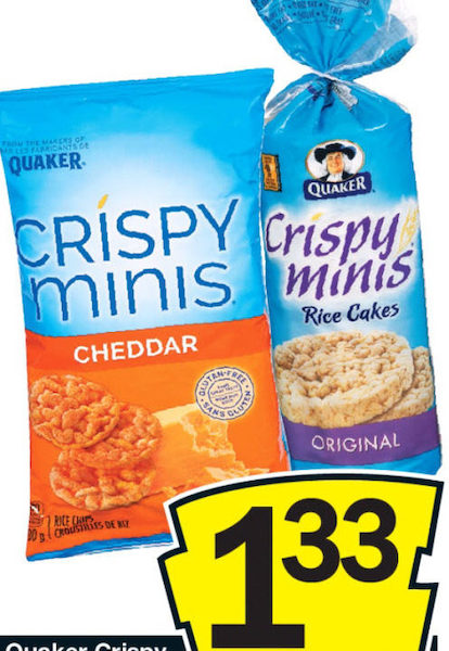 No Frills Quaker Crispy Rice Cakes Or Minis Chips 100 199g