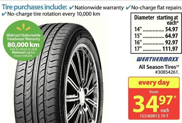 Walmart Weathermaxx All Season Tires Redflagdeals Com