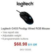 Logitech G403 Prodigy Wired RGB Mouse  - $68.98 ($11.00  off)
