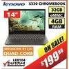 "Lenovo S330 Chromebook - 14"" - $199.98"