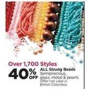 All Strung Beads Semiprecious, Glass, Metal & Pearls - 40% off