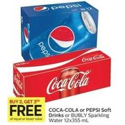 Coca-Cola or Pepsi Soft Drinks or Bubly Sparkling Water - Buy 2, Get 3rd Free