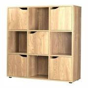 9 Cube Oak Bookcase With 5 Doors - $59.99