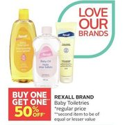 Rexall Brand Baby Toiletries - BOGO 50% off
